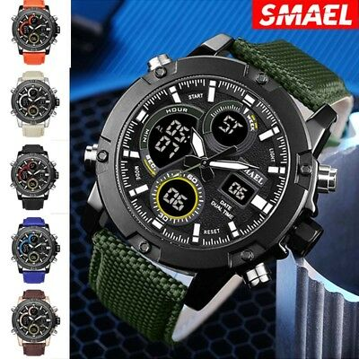 SMAEL Men Sportwatch LED Quartz Wristwatch Anti-Seismic 30 Waterproof Military
