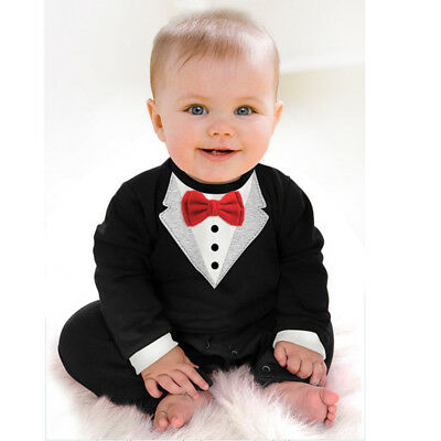 Cute Newborn Infant Baby Boys Gentleman Outfit Clothes Romper Suit