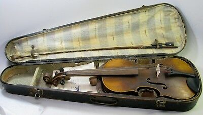 Antique 4/4 Full Size Violin & Bow + Wooden Case