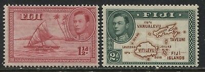 Fiji KGVI 1938 1 1/2d (empty canoe) and 2d (no 180 degrees) mint o.g.