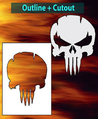 Punisher Skull Distressed Airbrush Stencil Multi Layer Template