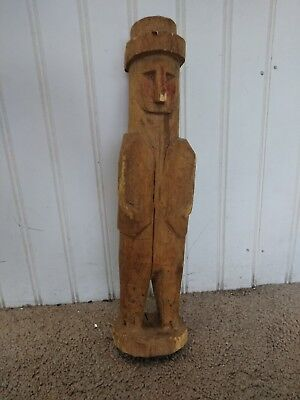 Vintage Antique Island Folk Art Chip Carved Figure Figurine Sylized Man Hat 13""