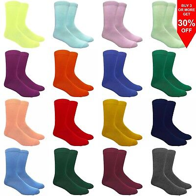 Fine Fit Men's Solid Color Cotton Dress Socks Wedding Assorted Plain