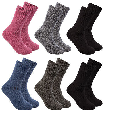 2 Pairs Polar Extreme Insulated Crew Socks Women / Kids Brushed Thermal Lining