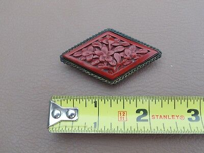 Old Vintage Filigree Carved Floral Red Cinnabar Pin Brooch China Chinese Export