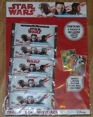 Last Jedi Trading Card pack x5 + limited edition card - Topps Disney