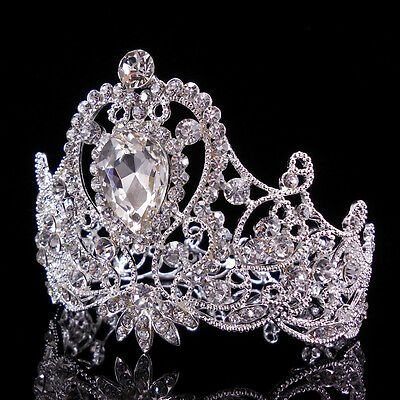 7cm High Heart Leaf Adult Girl Kids Crystal Wedding Party Pageant Prom Crown