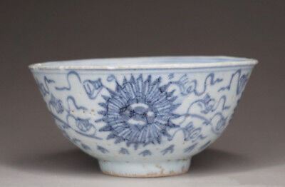 """100% Real Chinese Antique Ming Dynasty """"Chongzhen"""" Blue and White Old Bowl"""