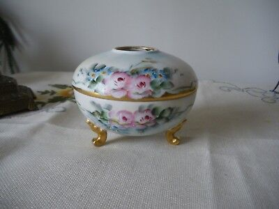 Beautiful Antique T&V Limoges Hand Painted Hair Receiver Pink Roses 1900