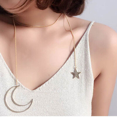 Women's Girls Moon Five-pointed Star Pendant Long Tassel Collar Necklaces D