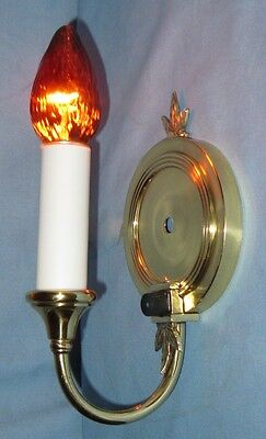 Antique Brass Wall Lamp Sconce Elegant Leaf Motif Finial Electrified Push Switch