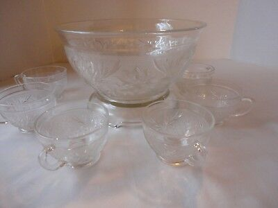 Vintage Tiara Indiana Glass Sandwich Pattern-Punch Set-Punch Bowl-Stand-7 Cups
