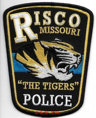 "*NEW*   Risco, Missouri  ""Tigers"" (4"" x 5"" size) shoulder police patch (fire)"