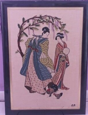 Vintage Framed signed S.S Oriental Springs musician & geisha needlepoint art