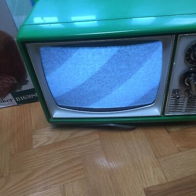 1975 green Solid State TV television WITH COAXIAL ADAPTER! antique vintage Quasa