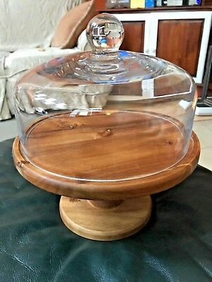 Wooden Pedestal Cake Muffin Dessert Sandwich Stand with Glass Dome Cover