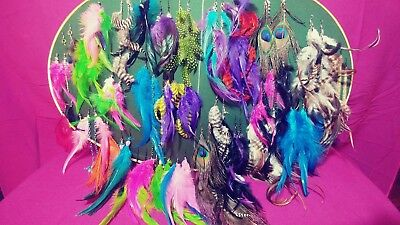 10 Pairs Handmade Feathered Earrings Different Colors Whole Sale Lot