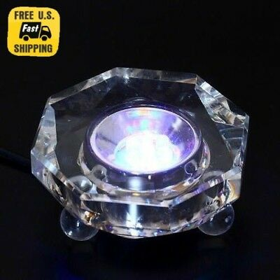 Amlong Crystal 7 LED Colored Lights Illuminated Round Crystal Display Stand NEW