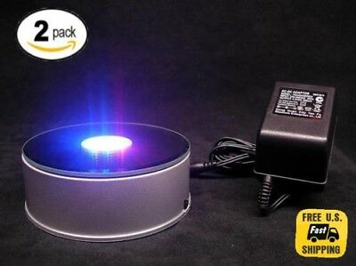 """2 Pack 3D Crystal Glass Laser 7LED Rotating Electric Light Stand Base Display 4"""""""