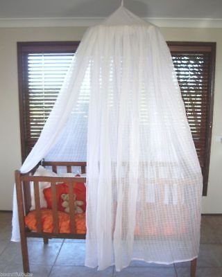 Baby Cot Mosquito Net 100% Cotton Muslin with hoop - Natural Colour