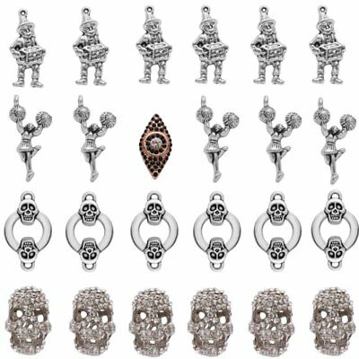 5pcs Tibetan Bronze Crystal Skull Charms Pendants Necklace Jewelry Findings Gift