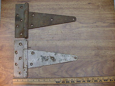 Lot of 2 Vintage Large Heavy Tee Hinges,Beautiful Rusty Iron Aged Patina Lot 1