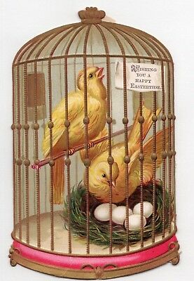 1800'S VICTORIAN - BIRD CAGE MOM DAD w NEST EGGS - DIECUT EASTER CARD