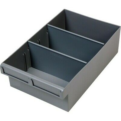 FISCHER PLASTIC Grey 300Mm Large Parts Tray Storage Drawer With Dividers