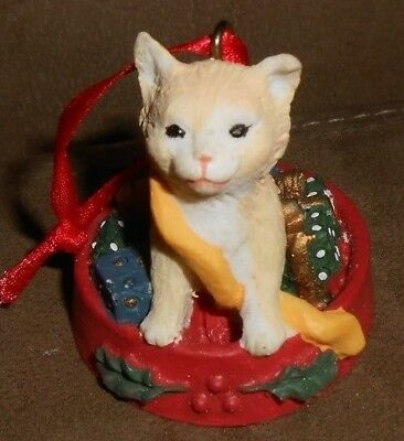 Cute Yellow and White Kitty Cat Christmas Holiday Ornament