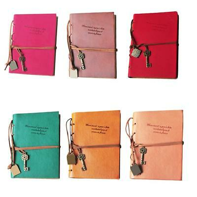 Memo Notebook Journal Daily Notepad PU Loose-Leaf with Rope Strap Metal Buckle