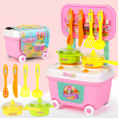 Kitchen Cooking Pretend Role Play Plastic Toy Cooker Set Children Kids Gift