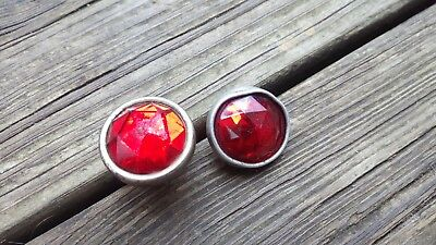 2 Vtg Red Glass Jewel Reflectors Harley Motorcycle Knucklehead Hot Rod Bicycle