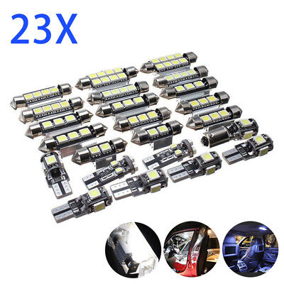 23x LED White Car Inside Interior Light Kit Dome Mirror License Plate Lamp Bulb