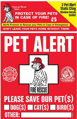 PET SAFETY ALERT Cling Window Decal Fire Rescue Rover Sticker Dog Emergency 2 pk