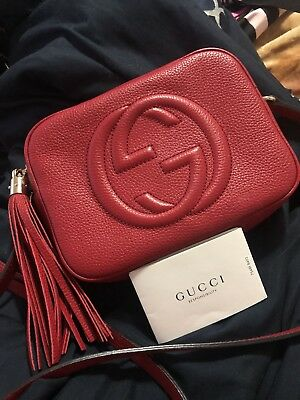 ca44b36147c0 RED GUCCI SOHO Disco Bag Purse 100% AUTHENTIC - $899.00 | PicClick