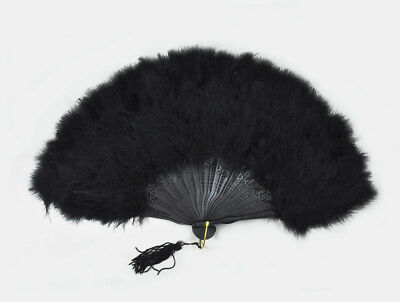 "Black Marabou feather fan 11""x 20"""