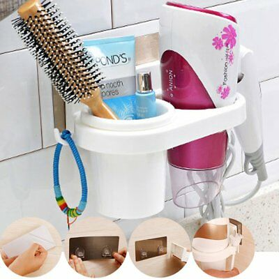 Wall Mounted Sticker Hair Dryer Stand Holder Bathroom Organizer Rack Storage