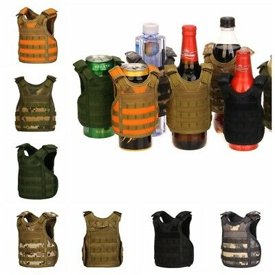 Military Tactical Mini Vest Soda Beer Bottle Cooler Insulator Can Cover Multi