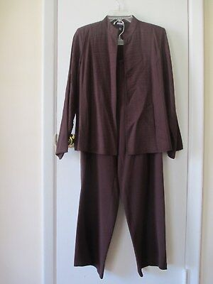Eileen Fisher...plum 3 Pc Outfit Cardigan /tank Top/pants...!!