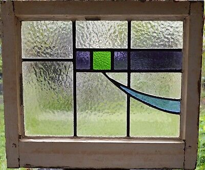 Antique Leaded English Stained Glass Window Wood Frame England Old House 50