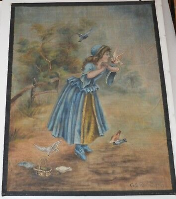 Antique 1907 Large Oil Painting On Cloth Signed G S Rische Girl W/ Doves