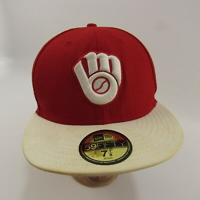 eca1e985e ... cheap milwaukee brewers fitted hat size 7 1 8 red white 59fifty new era  mlb ea980