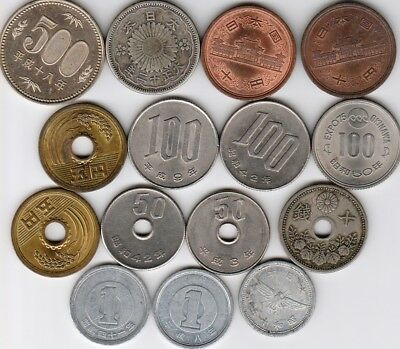 15 different world coins from JAPAN some scarce