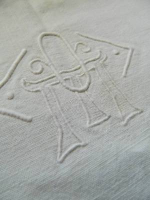 "Vintage white French metis linen sheet. Ladderwork & embroidered monogram ""O.M"""