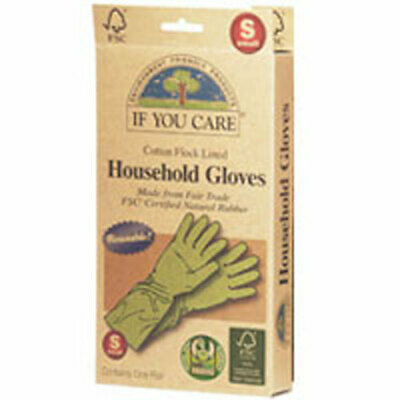 Household Gloves Latex Cotton Flock Lined Small 1 PAIR