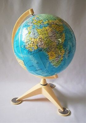 Vintage C1960's Small World Globe On Cream Plastic? / Bakelite? Stand - Japan