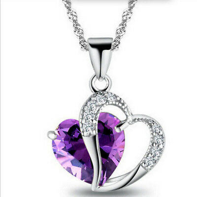 Women Silver Plated Necklace Chain Amethyst Crystal Heart Purple Pendant Jewelry