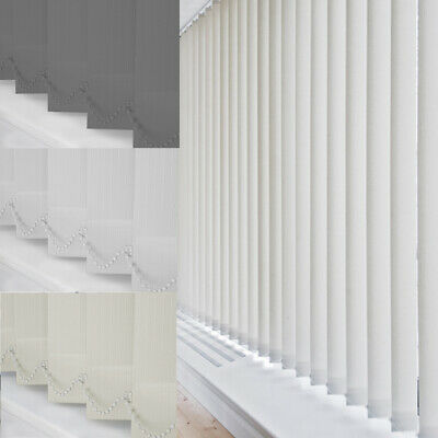 Vertical Blinds - Complete Set - Blackout / Fabric - White / Cream