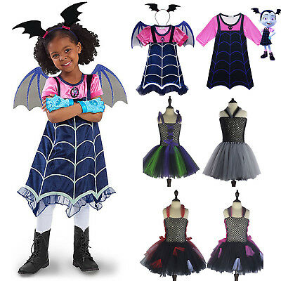 Kids Girls Vampirina Witch Party Halloween Costume Cartoon Cosplay Fancy Dress