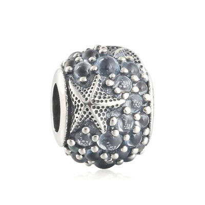 Authentic 925 Solid Silver Oceanic Starfish Frosty Mint CZ Bead Charm